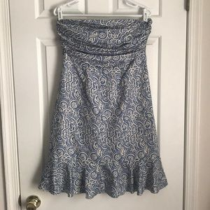 The limited blue strapless dress